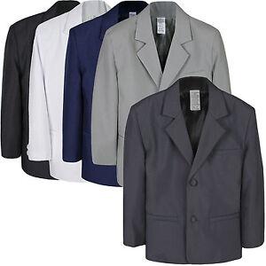 Boys-Baby-Kid-Formal-Wedding-Party-White-Black-Navy-Gray-Blazer-Jacket-Coat-S-7