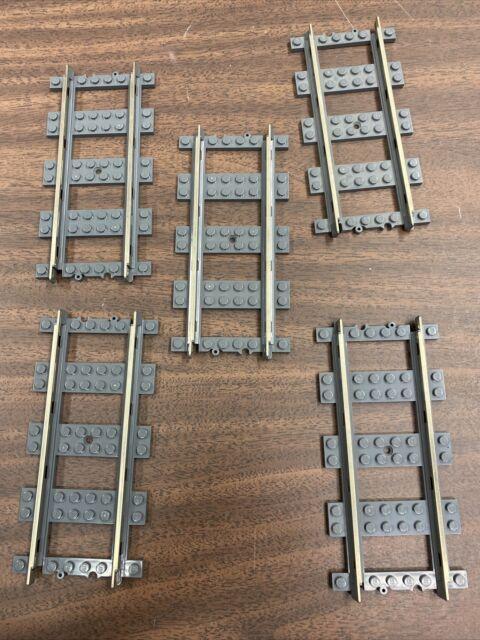 Lego 9v metal rail train track 5 Straight Track 4515