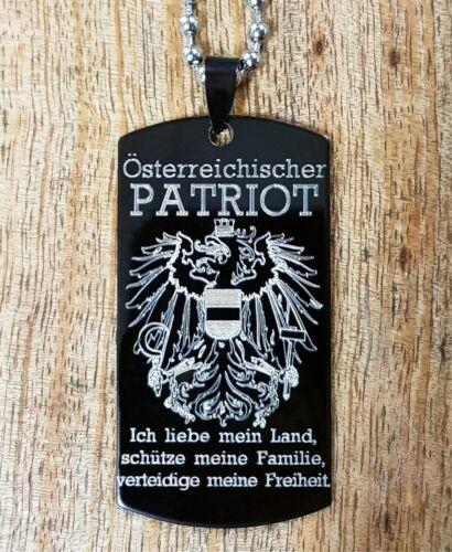 Schwarzes Edelstahl Dog-Tag ÖSTERREICHISCHER Patriot Österreich Adler