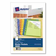 Avery Small Binder Pockets Standard 7 Hole Punched Assorted 5pack 75307