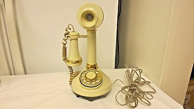 1973  Western Electric Candlestick Rotary Dial Telephone #77599-Ivory & Goldtone
