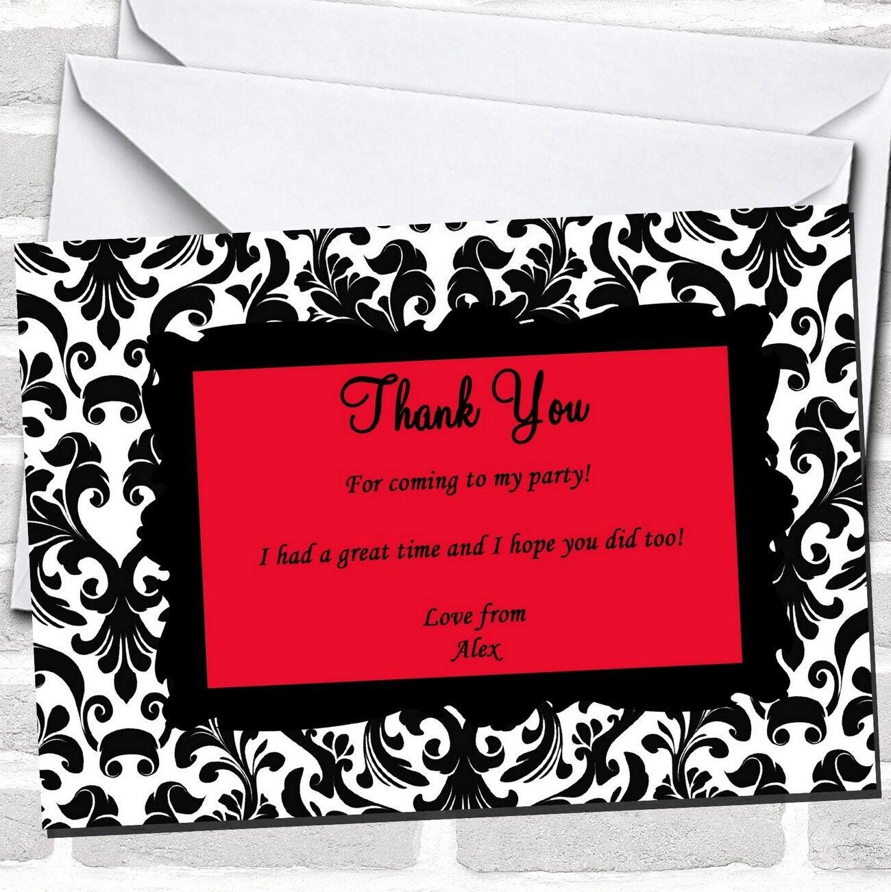Negro y Rojo Damasco Fiesta Tarjetas de Agradecimiento