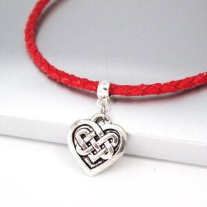 Silver Alloy Irish Celtic Knot Love Heart Pendant Black Leather Choker Necklace