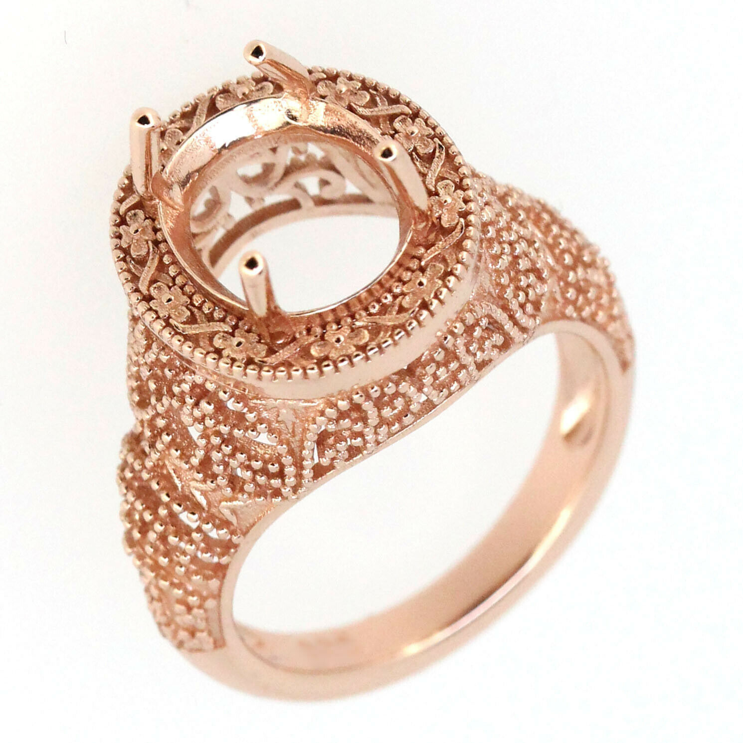 Filigree 14K pink gold Oval Shape 9x11mm Semi Mount Ring Setting
