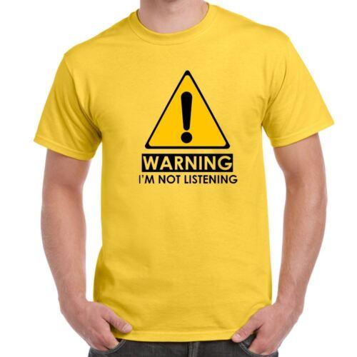 ALM786t-Homme Drôle T-shirts-Avertissement-Je ne suis pas écouter Sarcasme Sarcastique tshirt