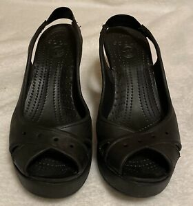 crocs black rubber wedge high heel open toe ankle strap