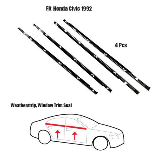 4x Weatherstrip ASSY Window Trim Seal Fit Honda Civic EG 1992 Chrome Set