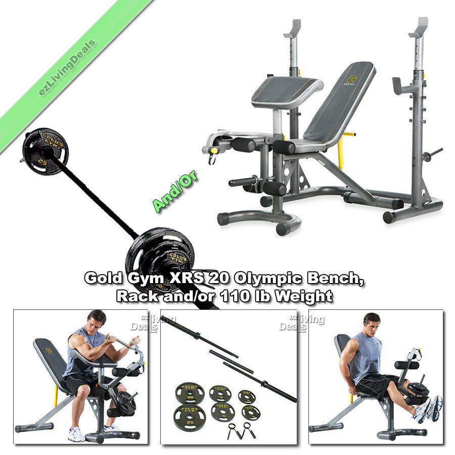Gold Gym Xrs 20 Olympic Weight Bench Press Lifting With Rack Or 110 Lb Weights Ebay