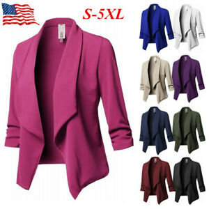 Women-Slim-OL-Suit-Casual-Blazer-Jacket-Coat-Tops-Outwear-Long-Sleeve-Plus-Sized