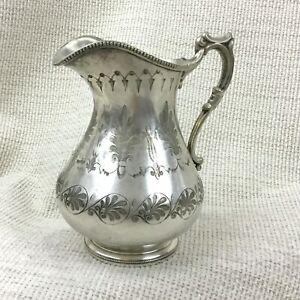 Antique-Victorien-Cremier-Cruche-Plaque-Argent-Grec-Revival-Decoratif-Gravure