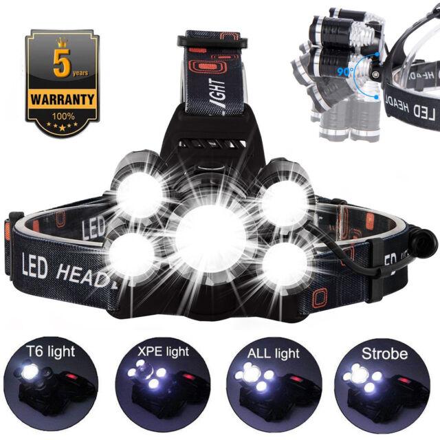 50000LM 5 Head CREE XM-L T6 LED 18650 Headlamp Headlight Flashlight Torch Light
