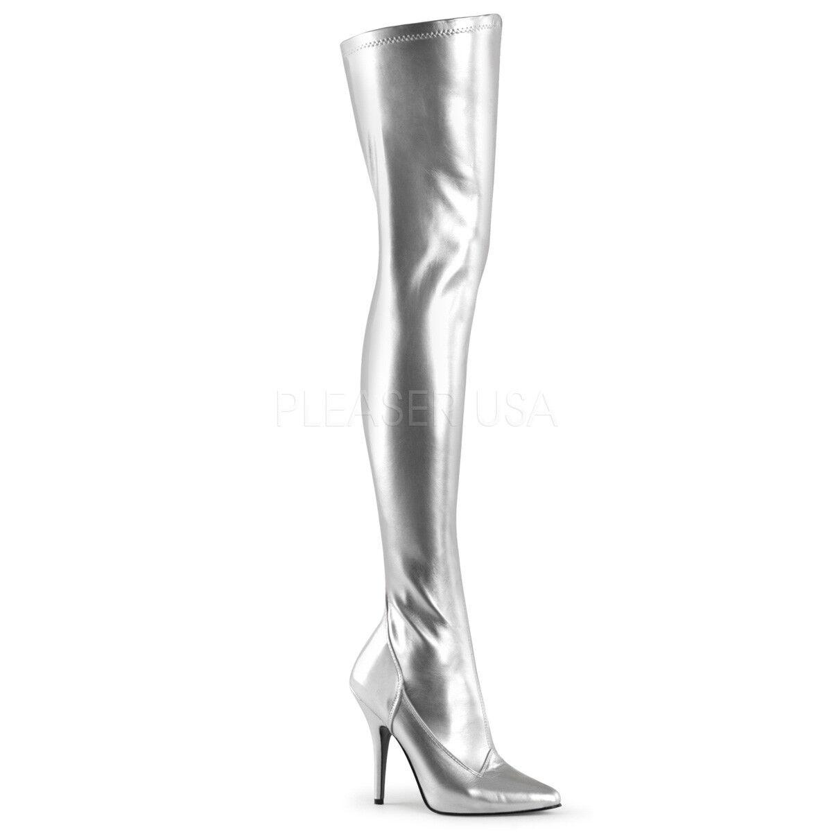 PLEASER - Seduce-3000 Stiefel Single Sole Thigh High Stiefel Seduce-3000 With Side Zipper d18fb5