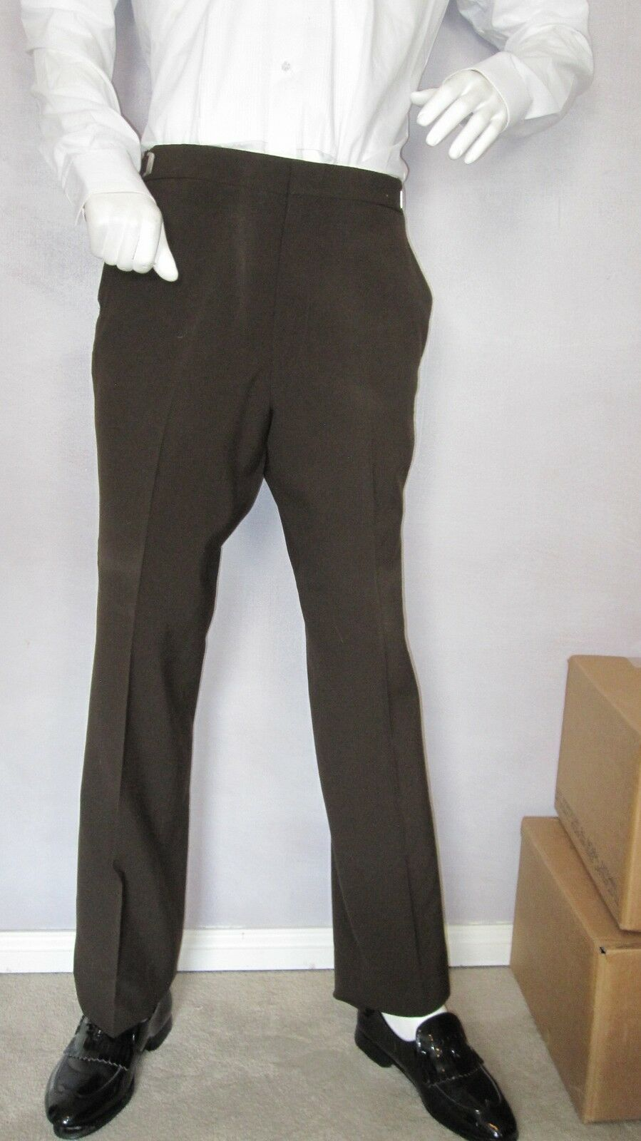BOYS VINTAGE TUXEDO BROWN PANTS WITH BROWN STRIPE, AFTER SIX, MADE IN USA