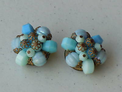 german glass beaded clip earrings vintage earrings orange and yellow