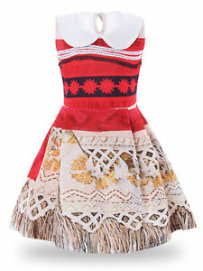 Details About Princess Moana Girls Dress Costume Sleeveless Cosplay Dress Up Adventure Outfit