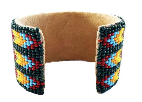 Native Style Handmade Beaded Hard Multi-color Cuff Bracelet Genuine Leather 1.5