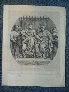 Incisione Salomon Su il Suo Trono Con La Regina Di Saba Dominiquin Gérard Audran