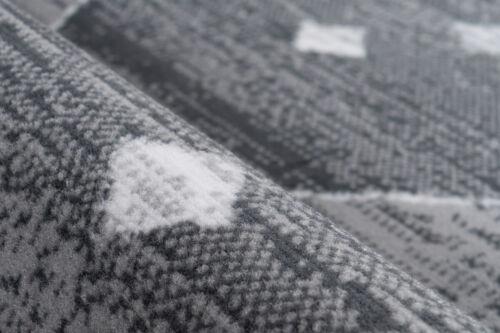 Moderner Teppich Rauten Kasten Design Grau Weiß 160x230cm
