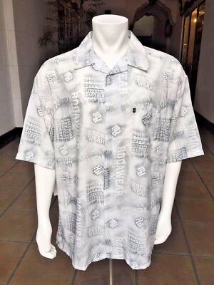 Men/'s Rocawear Grey All Over Signature Button Down Shirt