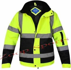 HI-VIZ-VIS-VISIBILTY-TWO-TOWN-BOMBER-CONTRACTOR-SECURITY-JACKET