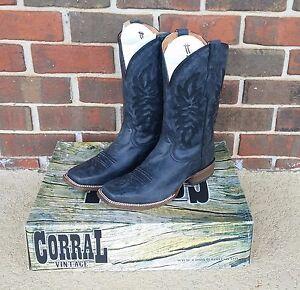 9ef23c541c6b CORRAL Mens Vintage Black Grey Distressed Square Toe Western Boots ...
