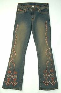 Dirt-Wash-Big-FLARE-Leg-Low-Rise-FLORAL-Embellished-SANS-SOUCI-Jeans-M