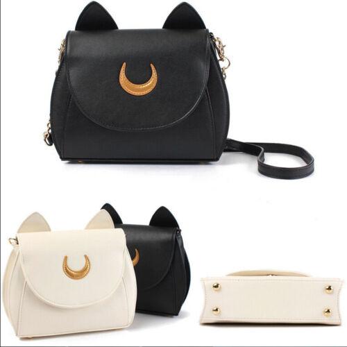 PU Leather Shoulder Tote Purse Bag Handbag Girl Cosplay Sailor Moon Cat CasualQW