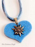 German Bavarian Women's Oktoberfest Jewelry - Pewter Edelweiss On Felt Heart