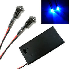 2x Police Flashing Blue Small 3mm Lights RC Car Buggy Truck LED + PP3 Holder Kit