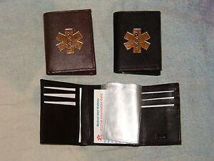 Trifold-leather-Medical-Wallet-w-medical-symbol-colors-black-amp-brown