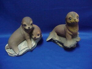 HOMCO-1981-Home-Interiors-Pair-of-Baby-Harp-Seals-ADORABLE