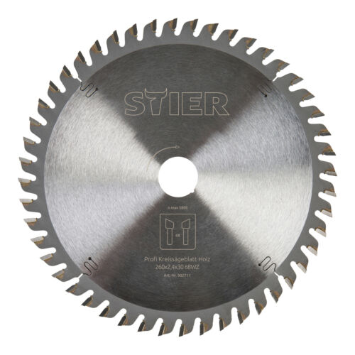 STIER Kreissägeblatt Profi Holz 260 x 2,4 x 30 mm 68 Zähne für verschiedene