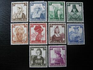 THIRD-REICH-Mi-588-597-scarce-used-Winterhilfswerk-stamp-set-CV-78-00