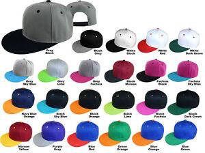 Snapback-Baseball-Cap-Plain-Two-Tone-Basic-Color-Flat-Bill-Adjustable-Sport-Hat