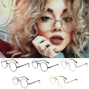 e243e90aa60a Women Men Vintage Oversized Metal Frame Clear Lens Big Round Circle ...