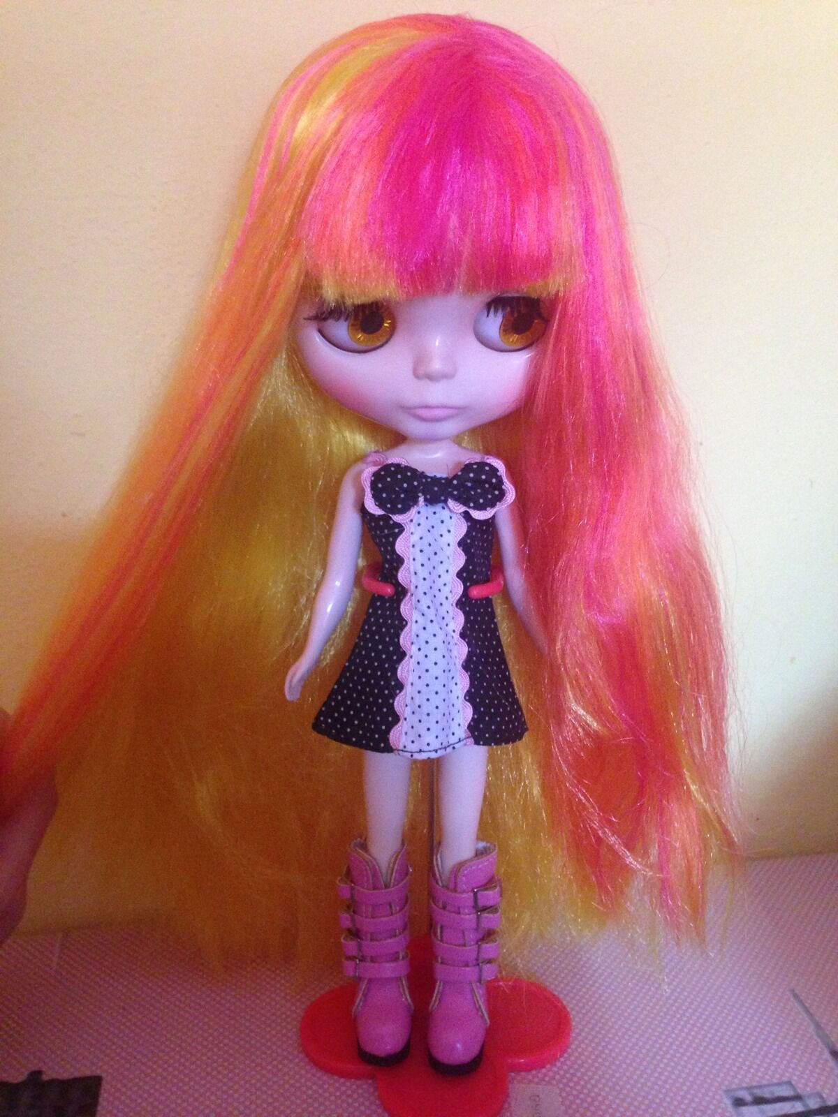 NEO Blythe TAKARA TOMY 12  Bambola Capelli Color Tramonto gialli, Arancio, Fuxia