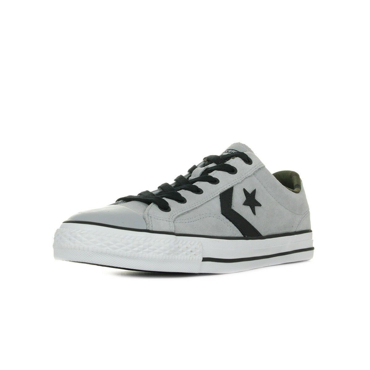 Zapatos Baskets Player Converse Hombre Star Player Baskets OX taille Gris Grise Cuir Lacets 74ea80