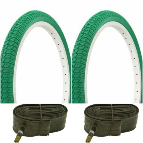 """Two GREEN 20x1.75/"""" BMX BIKE BICYCLE TRAILER JOGGER  TIRES /& TUBES"""