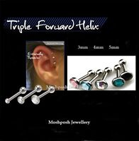 Triple Forward Helix Earring Tragus Cartilage Piercing Bars 3mm 4mm 5mm Gem