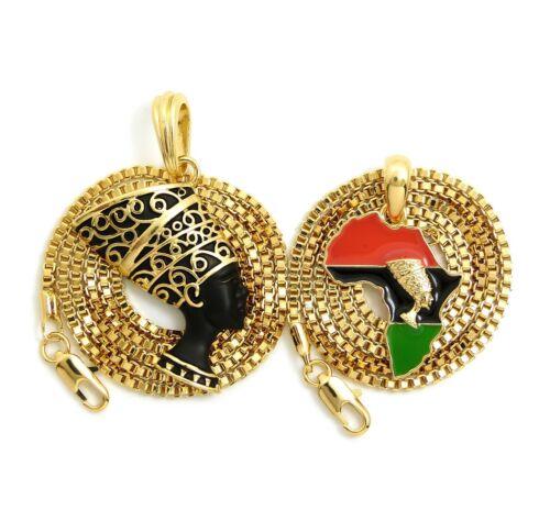 """Nefertiti Pendant 16/"""" Nefertiti Africa Map 24/"""" Box Chain 2 Necklace Set RC3014"""