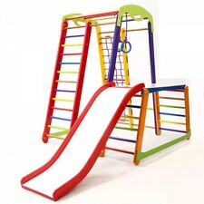 children/'s slide for Indoor use Kids home wooden playground with climbing net