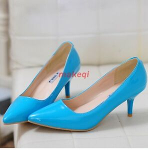 Sexy-Womens-Pointed-Toe-Stiletto-Kitten-Heels-Court-OL-Patend-Leather-Shoes-Pump