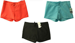 NWT-Island-Escape-Womens-Swim-Front-Tie-Board-Shorts-Aqua-Coral-Black