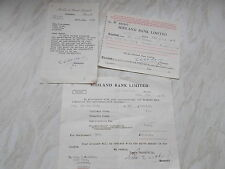 3 Midland Bank War Stock Paper Ephemera - re Mrs H.M.Baker All  Dated 1956