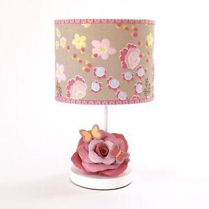 COCALO MAEBERRY NURSERY LAMP PINK MAUVE ROSE BUTTERFLY PINK BLUE FLOWERS NIB!