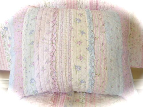 Lavender Blue White Double Queen Bed Patchwork Girl/'s Quilt Set French Cottage
