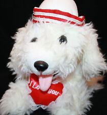 White Plush I Love You Red Heart Valentines DOG Bow Prettique Stuffed Sailor Hat