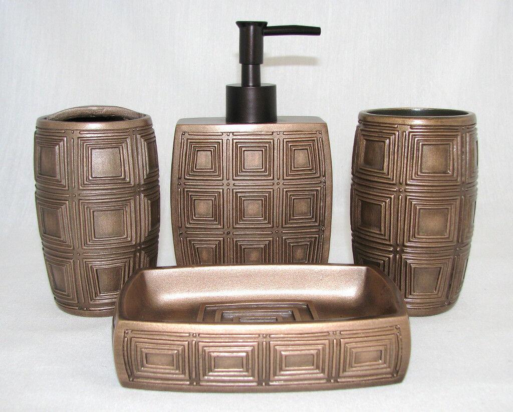 COPPER SQUARE PATTERN BATHROOM 4PC SOAP DISPENSER+DISH+TOOTHBRUSH+TUMBLER-NEW
