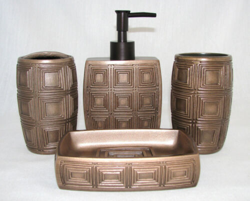 COPPER SQUARE PATTERN BATHROOM 4PC SOAP DISPENSER+DISH+TOOTHBRUSH+TUMBLERNEW