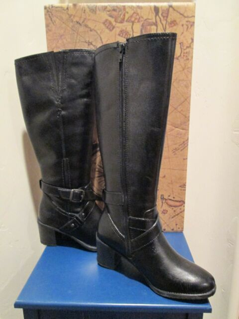 BUSSOLA STYLE HYLA BLACK LEATHER RIDING BOOTS WOMENS SHOES SZ 35 - 5-5.5 US NEW